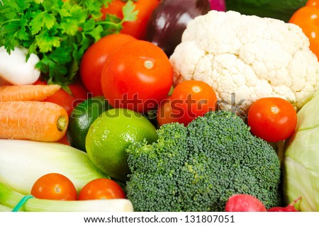 Group of fresh different vegetables