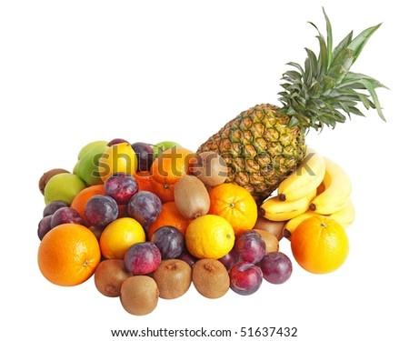 Group of fresh fruits. - stock photo
