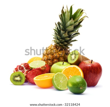 Group of fresh fruits, focus on pineapple - stock photo