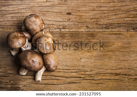 Group of Fresh Harvest Mushroom on Wood Table Background, Concept and Idea of Food Cook Rustic Still life Style, for background food wallpaper. - stock photo