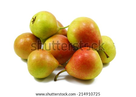 group of fresh pears isolated on white - stock photo