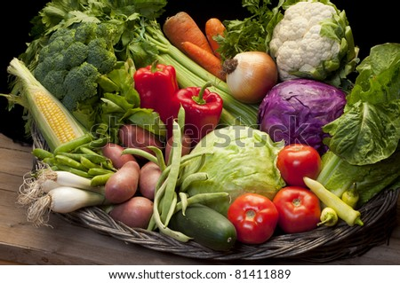 group of fresh, raw vegetables - stock photo