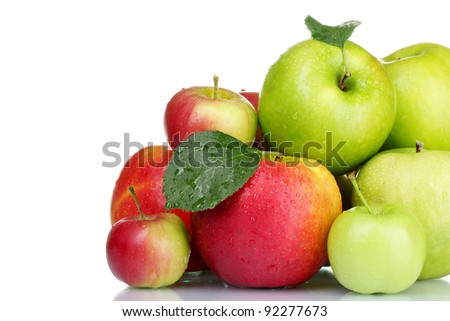 Group of fresh ripe apples isolated on white