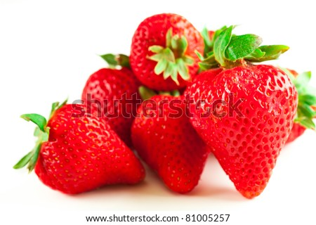 group of fresh strawberries, isolated on white background - stock photo