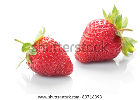 Group of fresh strawberries whith isolated on white - stock photo