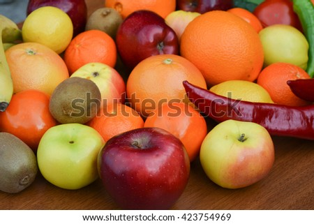 Group of fresh vegetables and fruits, isolated