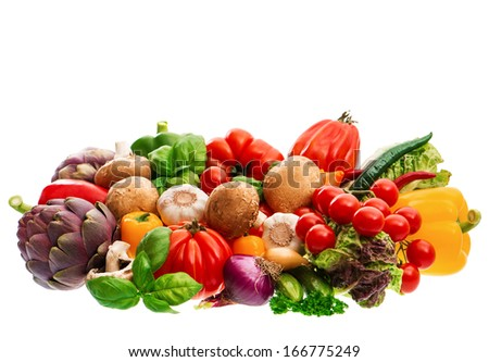 group of fresh vegetables and herbs isolated on white background. raw food. tomato, paprika, artichoke, mushrooms; cucumber, green salad, basil - stock photo