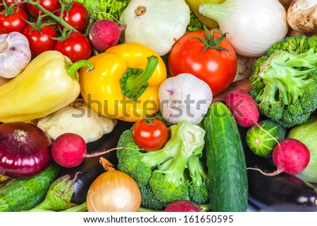 Group of fresh vegetables isolated on a white background