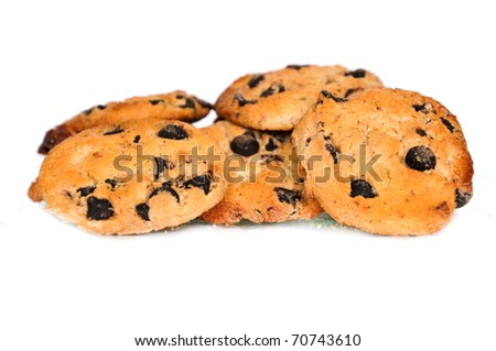 Group of  freshly baked homemade cookies isolated on white background - stock photo