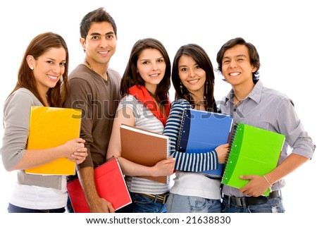group of friends carrying notebooks isolated over a white background - stock photo