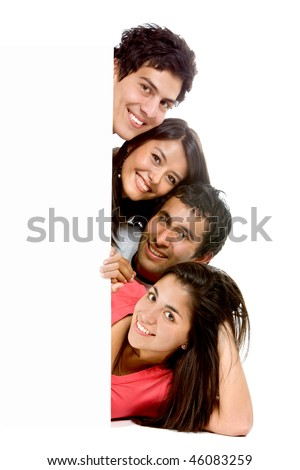 Group of friends coming from a banner isolated over white - stock photo