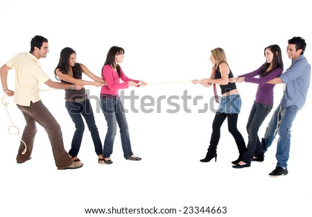 Group of friends competing pulling a rope isolated on white