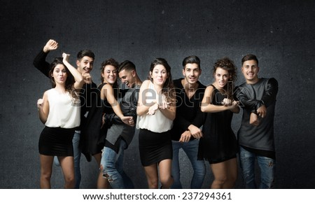 group of friends disco dancing - stock photo