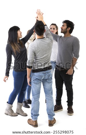 Group of friends doing high-five. Mixed race group. Isolated on a white background. - stock photo