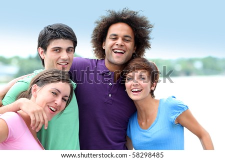 Group of friends having fun - stock photo