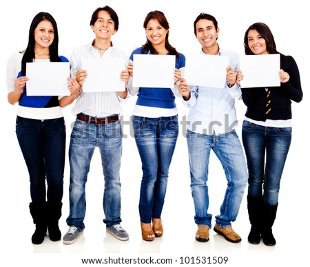 Group of friends holding banners - isolated over a white background - stock photo