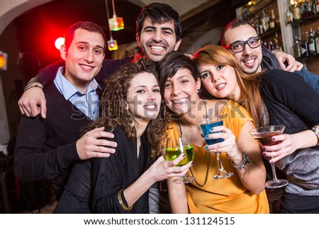 Group of Friends in a Night Club - stock photo