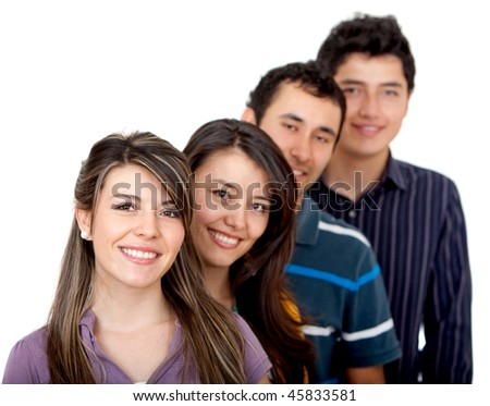 Group of friends in a row isolated over a white background