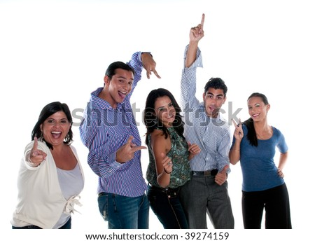 Group of friends of different ages and ethnicity. - stock photo