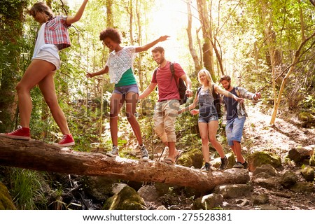 Group Of Friends On Walk Balancing On Tree Trunk In Forest - stock photo
