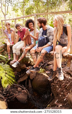 Group Of Friends On Walk Sitting On Wooden Bridge In Forest - stock photo