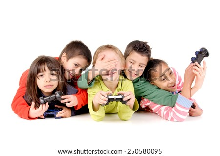 group of friends playing videogames isolated in white background