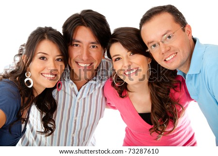 Group of friends smiling - isolated over a white background