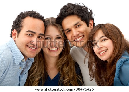 Group of friends smiling isolated over white