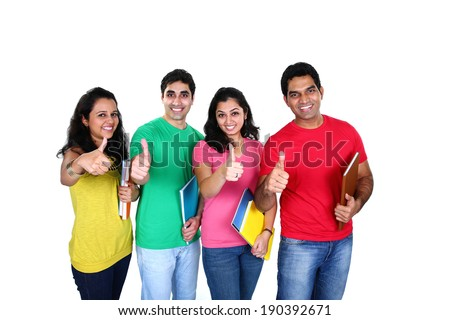 Group of friends smiling with thumb up denoting success, isolated on white background - stock photo