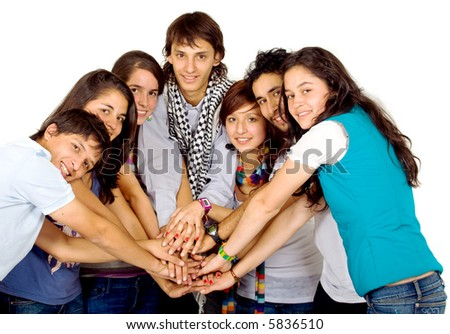 group of friends united all smiling - isolated over a white background - stock photo