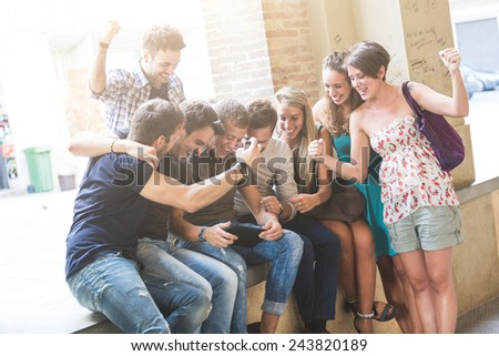 Group of Friends with Digital Tablet