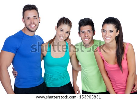 Group of friends with fitness clothes isolated on a white background