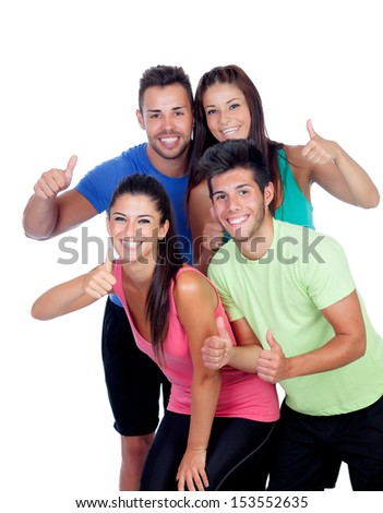 Group of friends with fitness clothes saying Ok isolated on a white background - stock photo