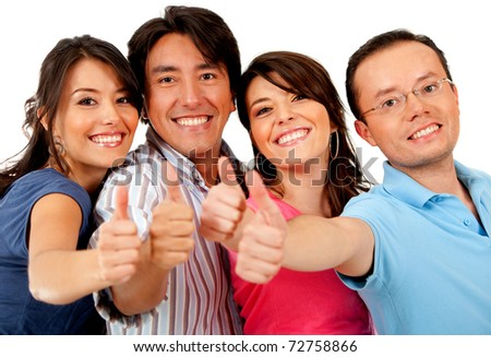 Group of friends with thumbs up ? isolated over a white background - stock photo