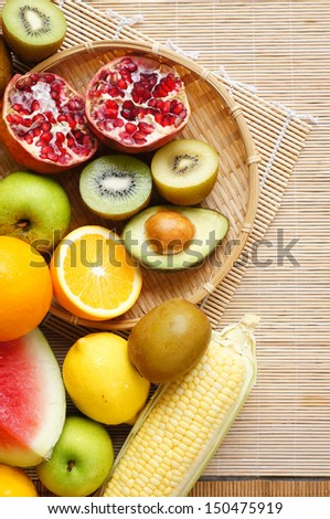 Group of fruits colorful from above - stock photo