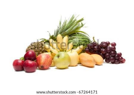 group of fruits isolated on a white background - stock photo