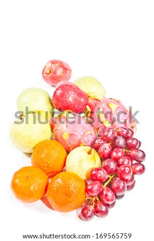Group of fruits isolated on white