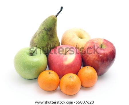 group of fruits isolated on white - stock photo