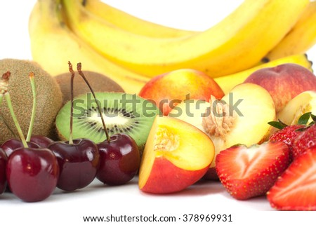 Group of fruits isolated on white background