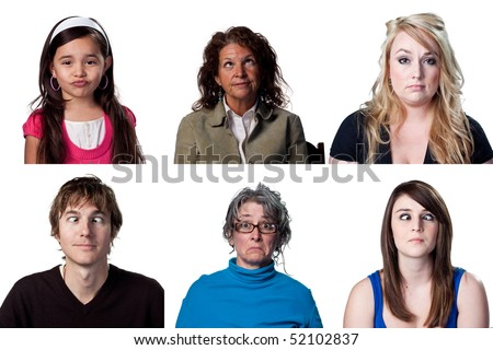 Group of full size images of funny faces - stock photo