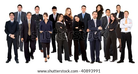 Group of fullbody business people isolated over a white background