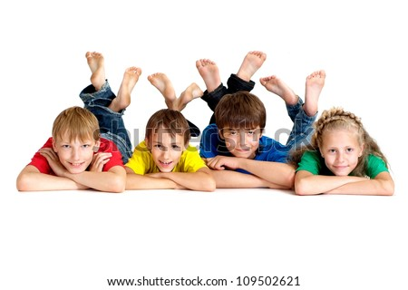 Group of fun children in bright T-shirt on a white background - stock photo