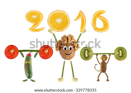 Group of funny vegetables raises the bar and 2016 - stock photo