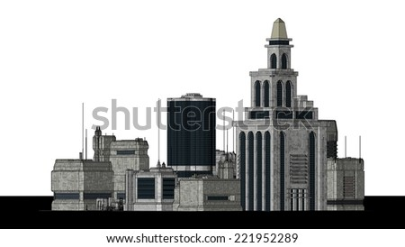 Group of futuristic buildings on a white background - stock photo