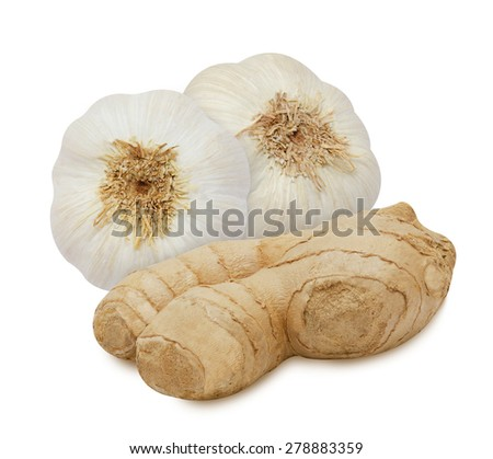 Group of garlic and ginger isolated on white background - stock photo