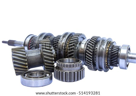 group of gear part on isolated background
