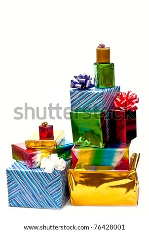 Group of gifts with bows isolated on white