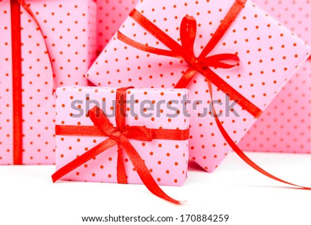 group of gifts with ribbon  - stock photo