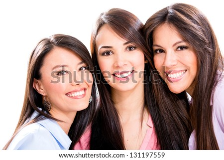 Group of girl friends - isolated over a white background - stock photo