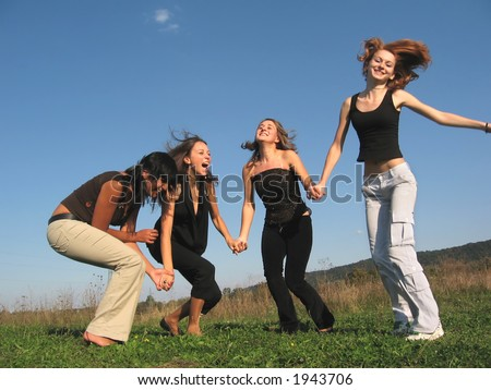Group of girls having fun - stock photo